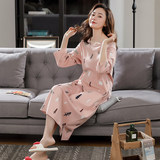 Long-sleeved cotton nightgown female spring and winter long section of knee cotton tracksuit Korean loose big yards pregnant women pajamas