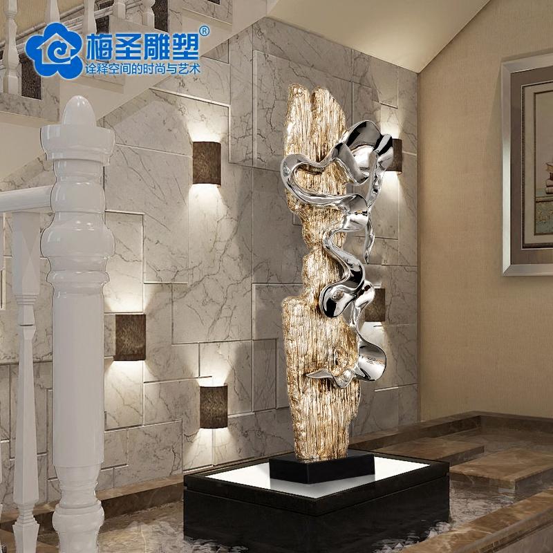 酒店大堂擺件現代大廳客廳玄關抽象電鍍創意樣板房落地雕塑工藝品