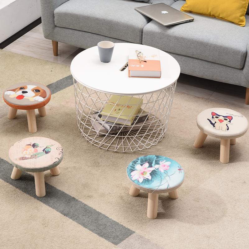 布艺小凳子时尚圆凳创意板凳软面沙发凳成人椅子家用儿童茶几矮凳
