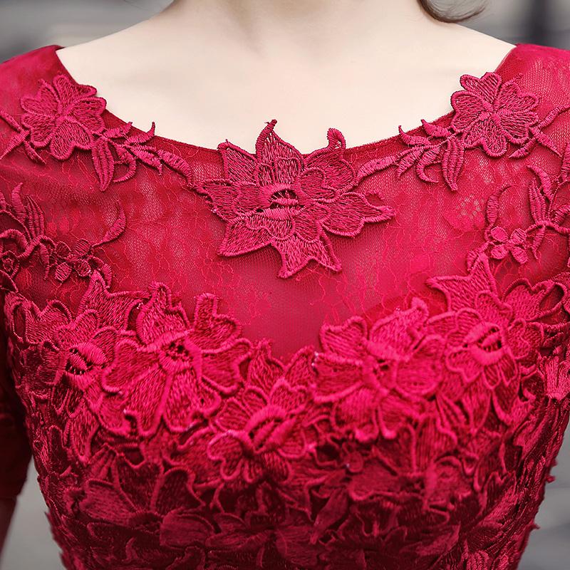 新娘结婚敬酒服短款2019新款红色蕾丝小个子礼服连衣裙女平时可穿
