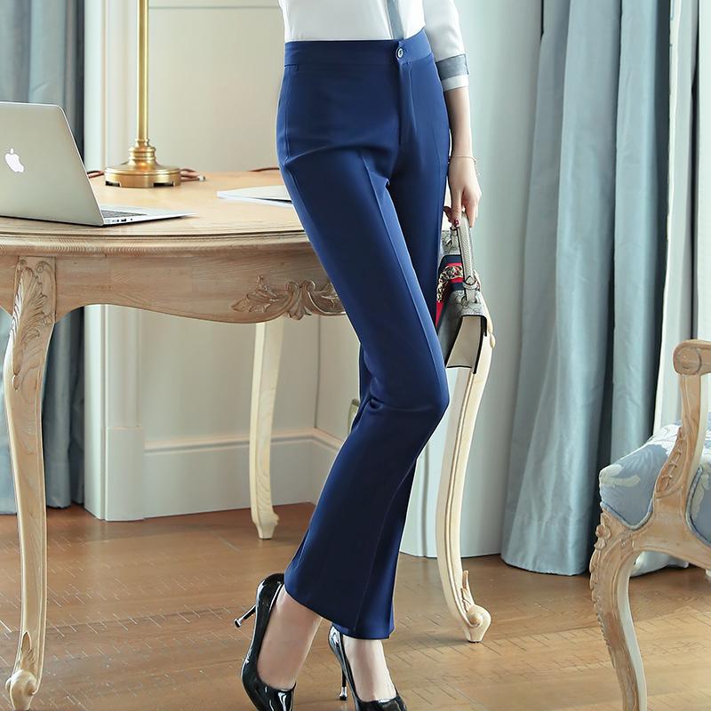 春秋西裤女修身长裤直筒黑蓝色工作裤子职业装免烫西装裤上班工裤
