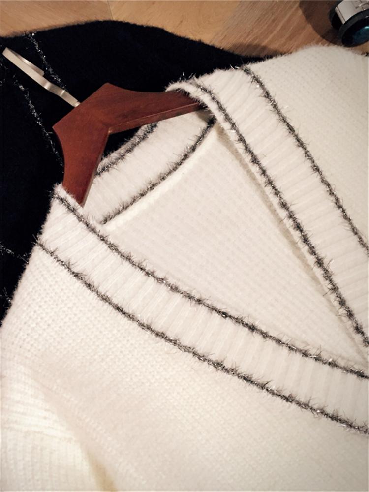 仿水貂绒毛衣外套女开衫2020秋季新款韩版宽松慵懒风亮丝针织衫潮主图