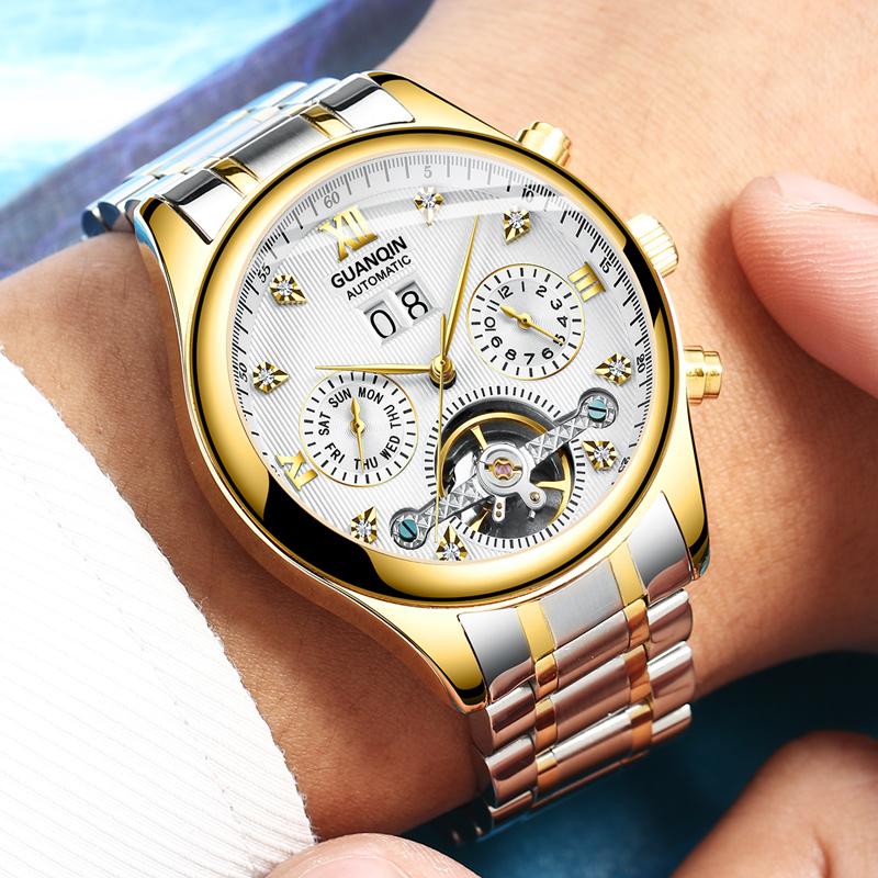 冠琴手表男全自动机械表超薄防水精钢男表时尚潮缕空运动男士手表