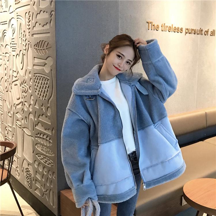 加厚机车东大门羊羔毛外套女冬季2018新款韩版宽松学生毛绒棉服