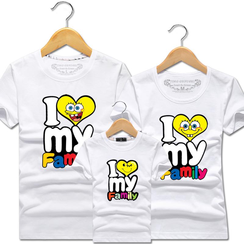 2018新款亲子装短袖t恤夏装一家三口全家装父子装童装幼儿园班服