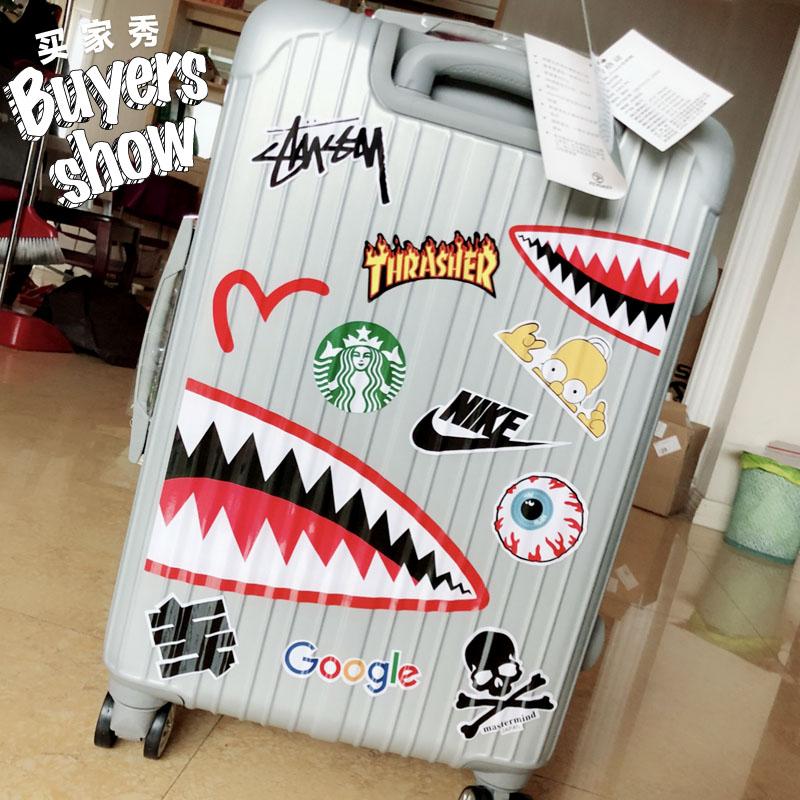 个性潮牌鲨鱼旅行箱贴纸A4大张行李箱贴画墙壁冰箱贴防水贝光156