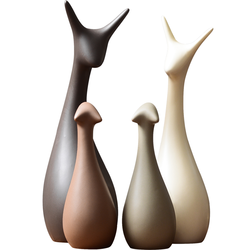米卢思 创意家居酒柜装饰品摆件 客厅电视柜室内装饰品吉祥三宝鹿
