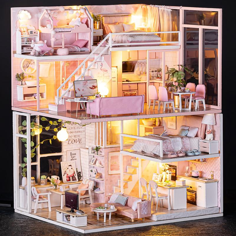 儿童玩具小女孩公主生日礼物手工迷你厨房房子芭比娃娃屋10一12岁