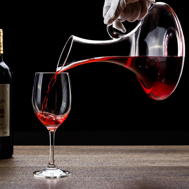欧式经典款水晶玻璃醒酒器家用斜口壶快速带把盛酒器倒酒器分酒器