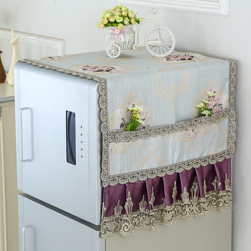 冰箱盖布单双开门冰柜防尘罩子帘滚筒式洗衣机盖巾对开门布艺蕾丝
