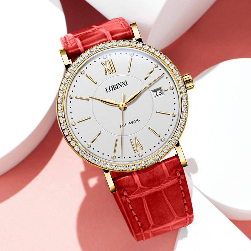 罗宾尼新款手表女士全新时尚全自动机械表正品防水品牌手表