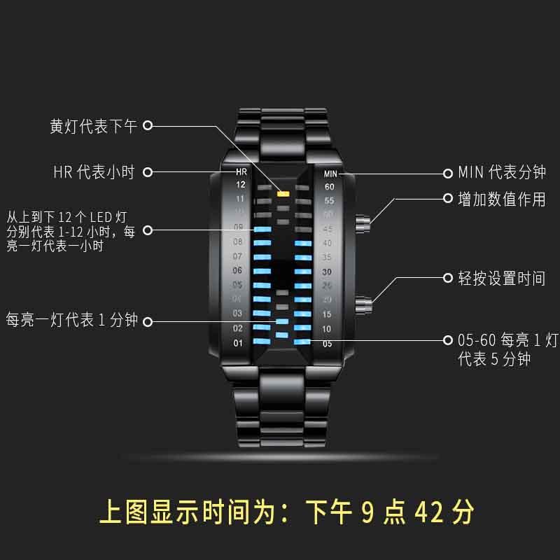 学生手表潮流时尚电子表潮表 LED 拉维亚防水电子表男士个姓创意