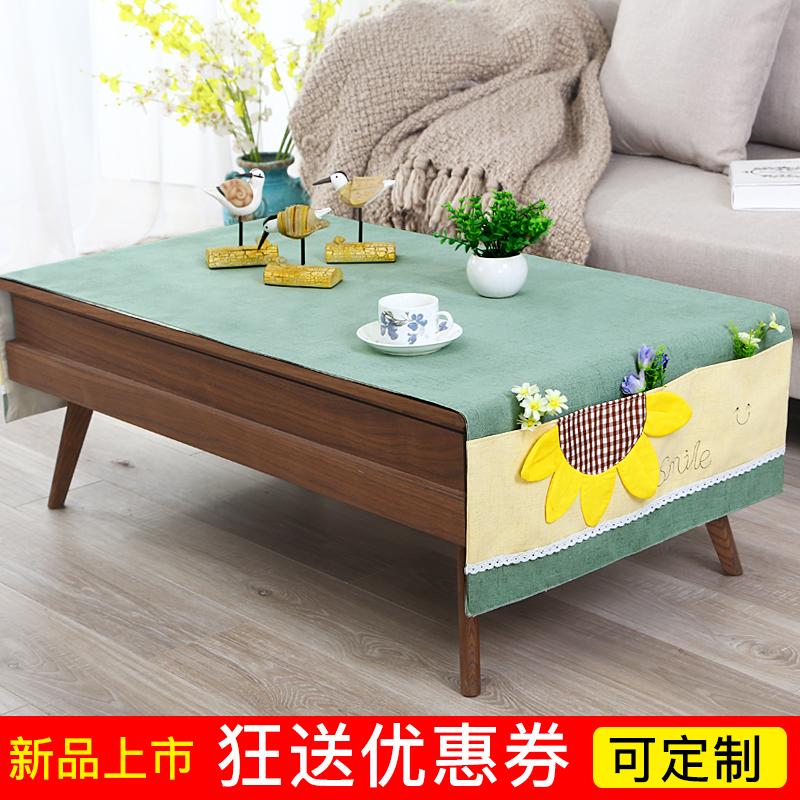 簡約茶几桌布棉麻長方形繡花小桌布布藝電視櫃蓋巾布茶几墊可定製