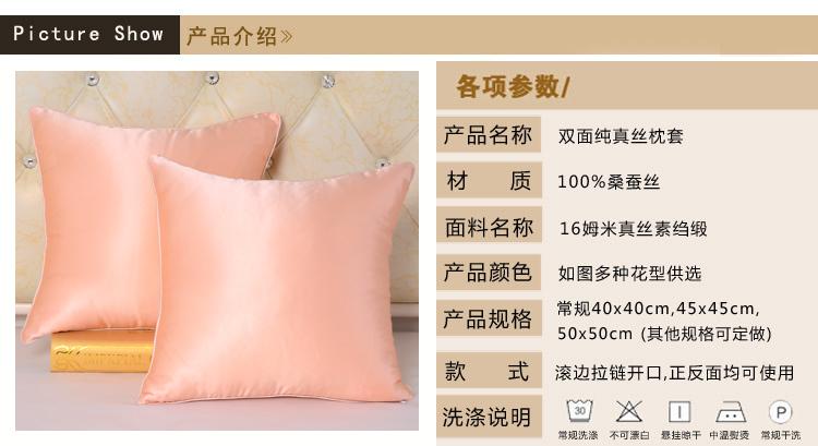 双面纯真丝靠垫套100%桑蚕丝枕套丝绸方枕套 抱枕套 不含芯