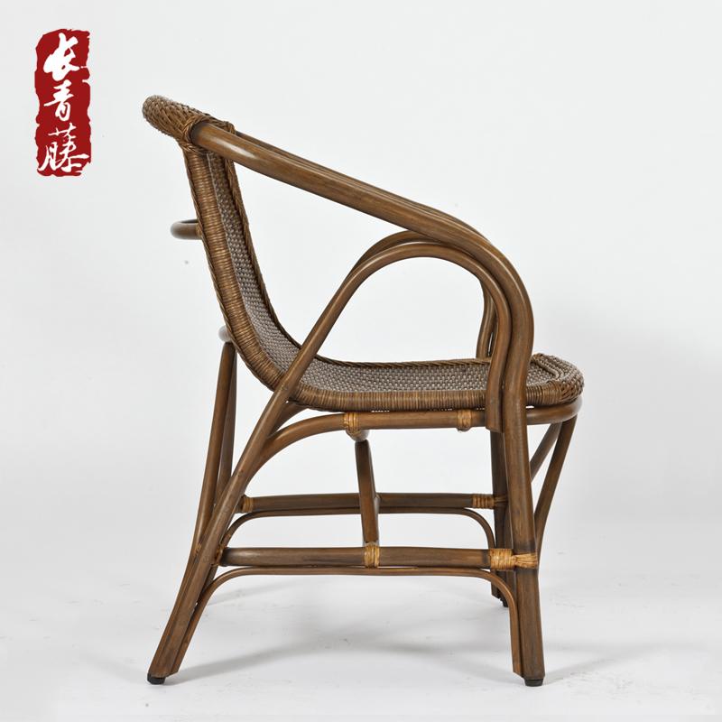 长青藤天然真藤藤编单人椅子阳台休闲藤椅现代简约编织藤椅三件套