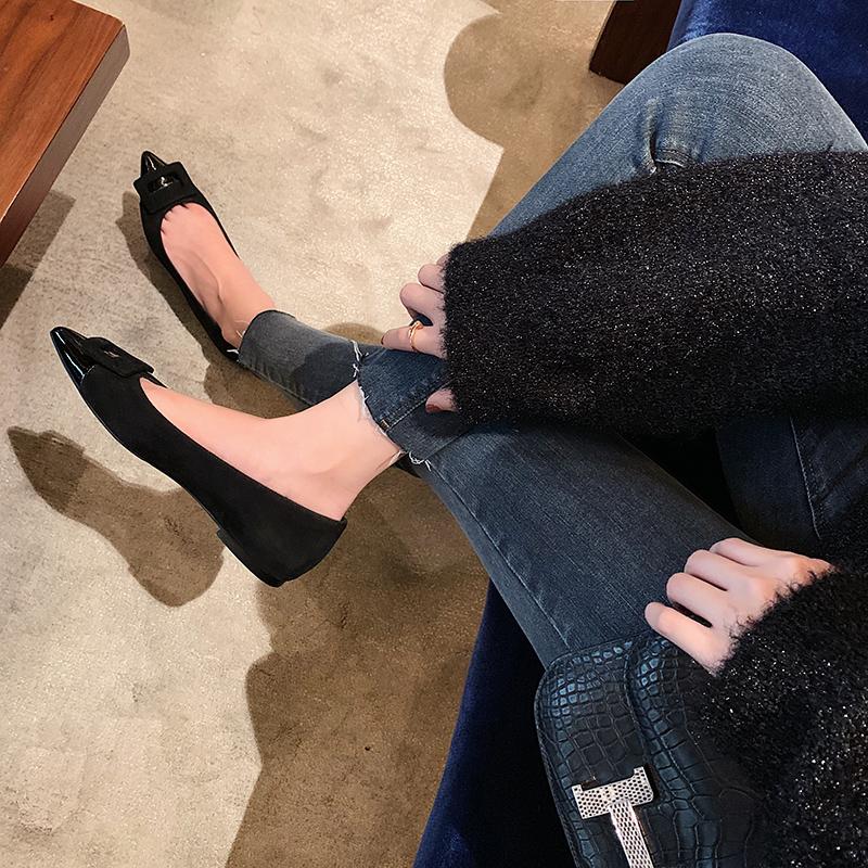 软底尖头方扣单鞋秋季小香风女鞋 平底粗跟都有 studiolee 葡萄妈