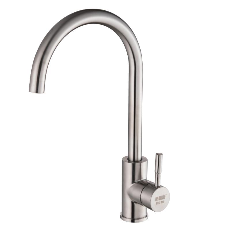 洗菜盆可旋转水槽龙头 304不锈钢厨房冷热水龙头家用洗碗单冷龙头