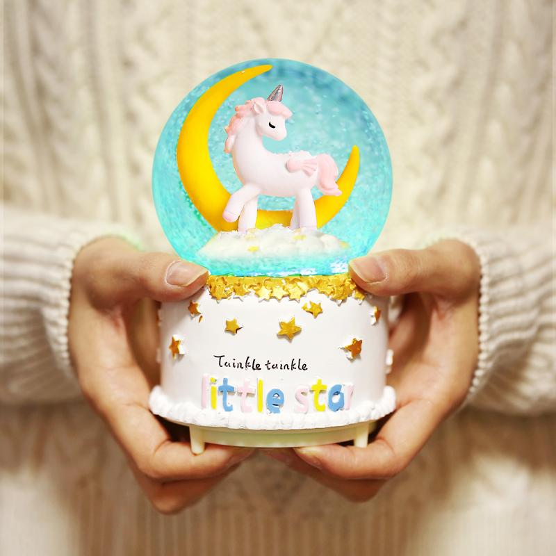 发光水晶球音乐盒八音盒飘雪花创意生日礼物送女生男生闺蜜儿童