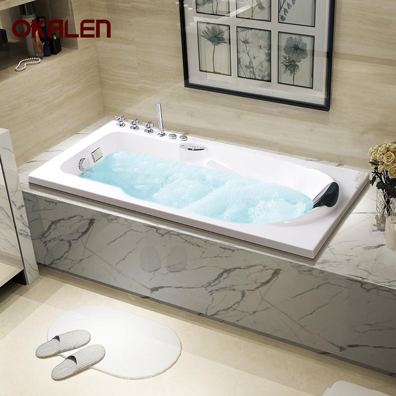 欧凯伦嵌入式按摩浴缸家用成人欧式浴盆迷你小浴缸浴池1.2m-1.8米