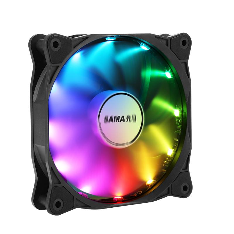 先马 机箱风扇12CM LED灯静音无光散热风扇 光环5/7/3炫彩RGB风扇