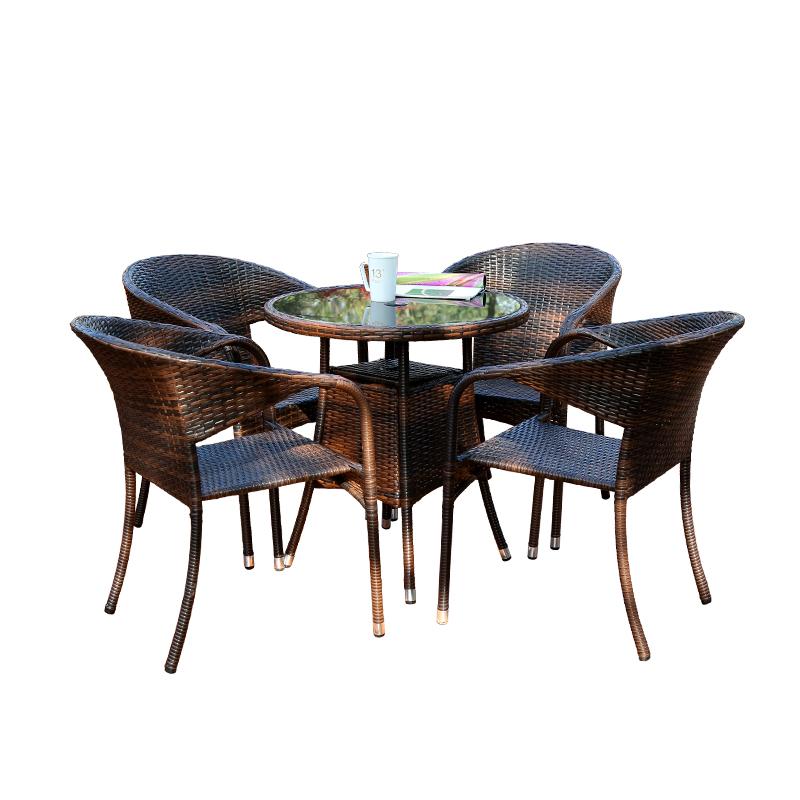 户外桌椅五件套室外庭院休闲小茶几套装组合铁艺藤椅椅子阳台桌椅