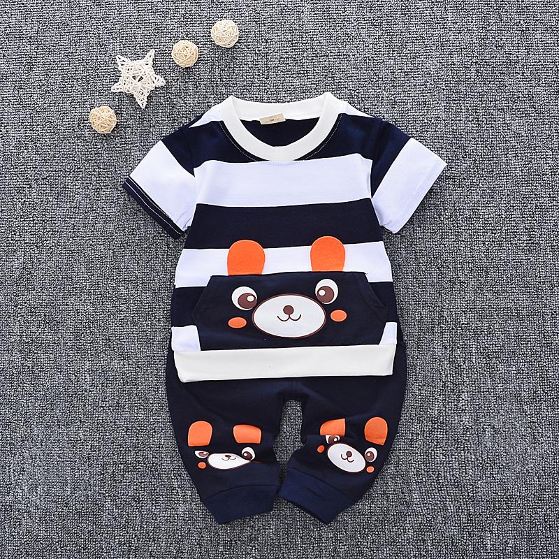 2019新款童装T恤可爱男童女宝宝衣服夏款短袖儿童套装0-1-2-3-4岁