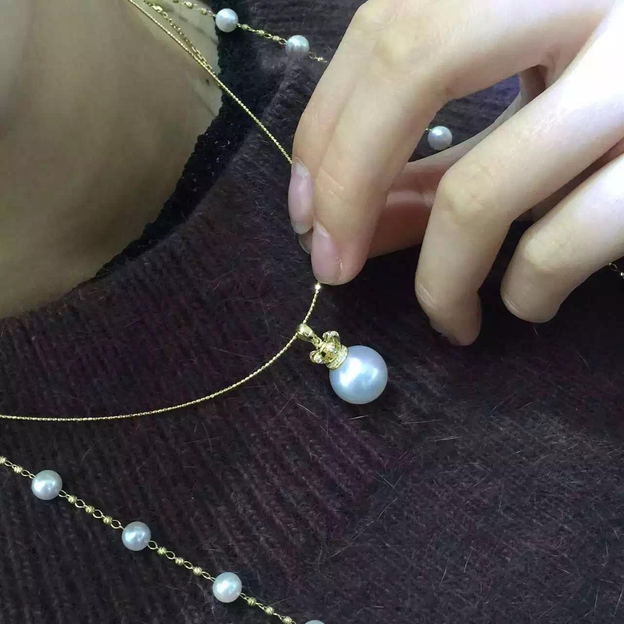 银镀  金锁骨链正圆大颗粒珍珠女 18k 澳洲白珍珠吊坠皇冠珍珠项链 925