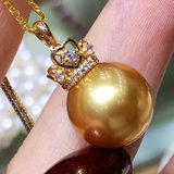 Nanyang gold pearl pendant perfect circle thick plated 18k gold s925 silver earrings ear hook Queen Crown models pearl suit