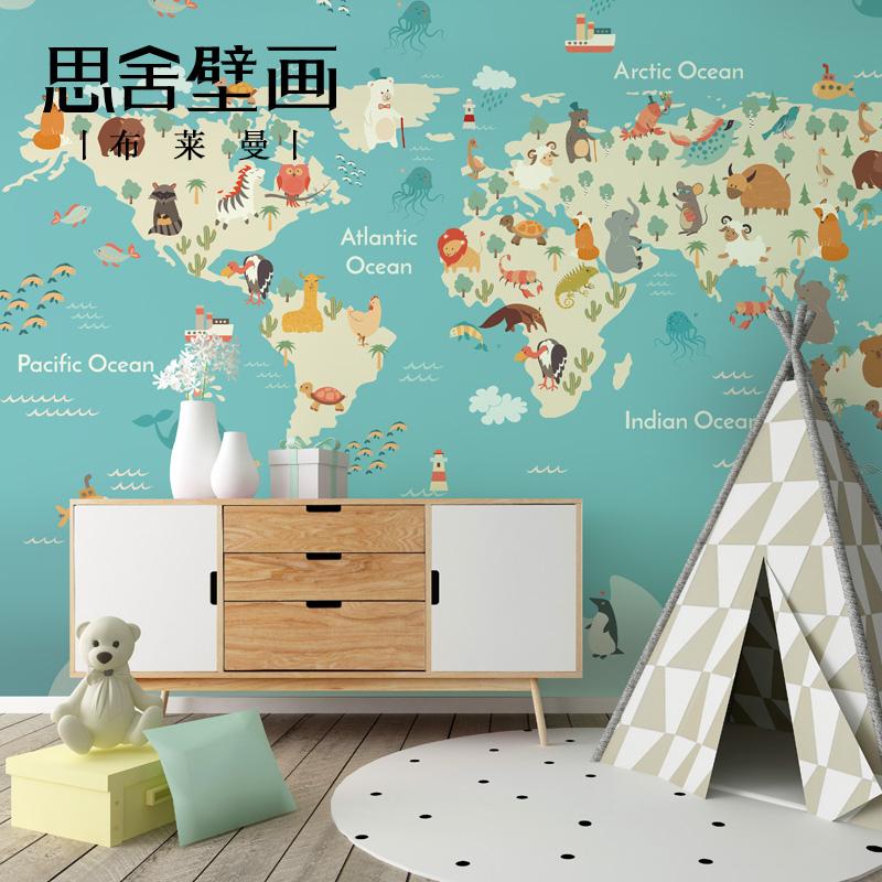 思舍壁画儿童房壁纸世界地图墙纸卡通动物男孩墙布卧室定制壁布