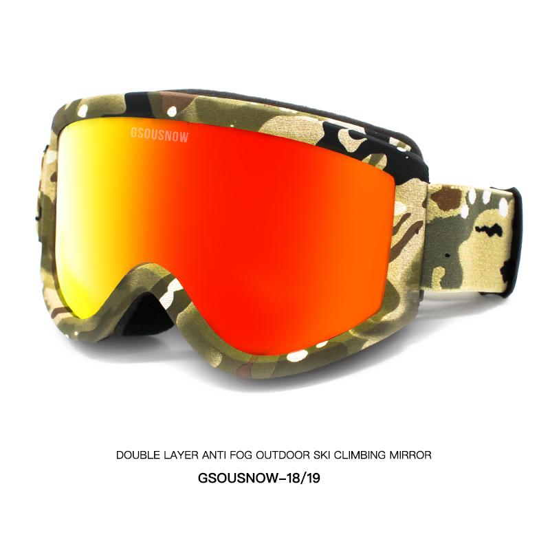 GS滑雪眼镜双层防雾可卡近视镜男女户外登山防风护目镜滑雪镜