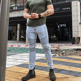 Fitness Slim pants stretch jeans squats muscle training dogs brothers summer nine feet tight trousers male
