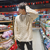 BEESTRONG large fitness warm autumn and winter loose sweater tide male sport sweater knit muscles