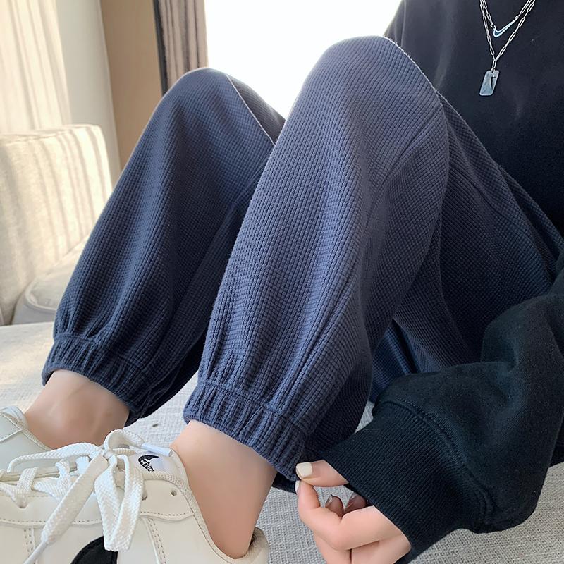 华夫格运动裤女春秋2021新款秋冬加绒灰色hiphop休闲宽松爆款卫裤