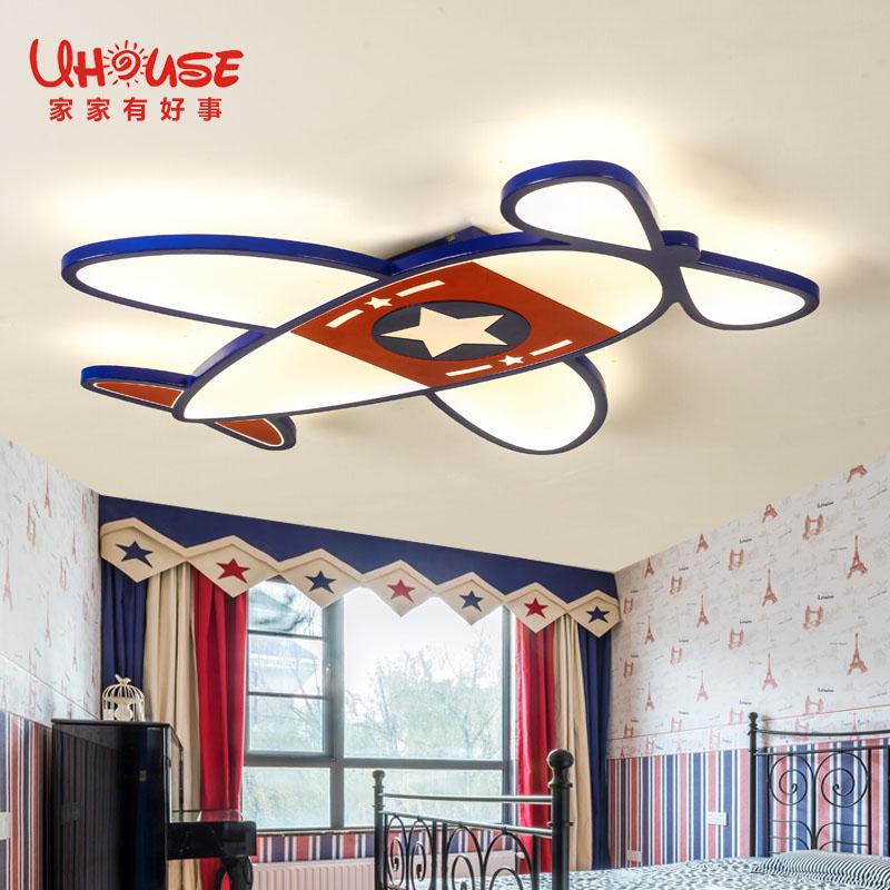 护眼男孩女孩卧室灯具 LED 简约飞机儿童房吸顶灯创意卡通艺术 新款