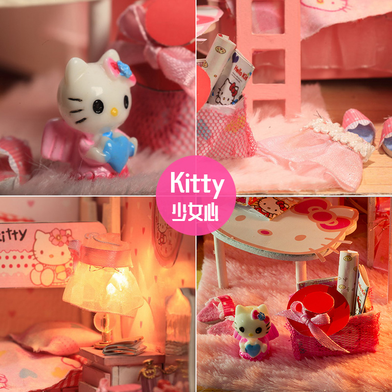 diy小屋手工制作迷你公主小房子模型拼装别墅玩具创意生日礼物女