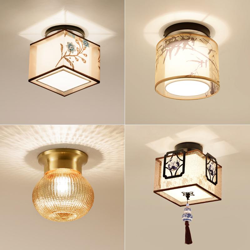 新中式吸顶灯阳台过道灯走廊玄关灯圆形现代吸顶灯led门厅小灯具