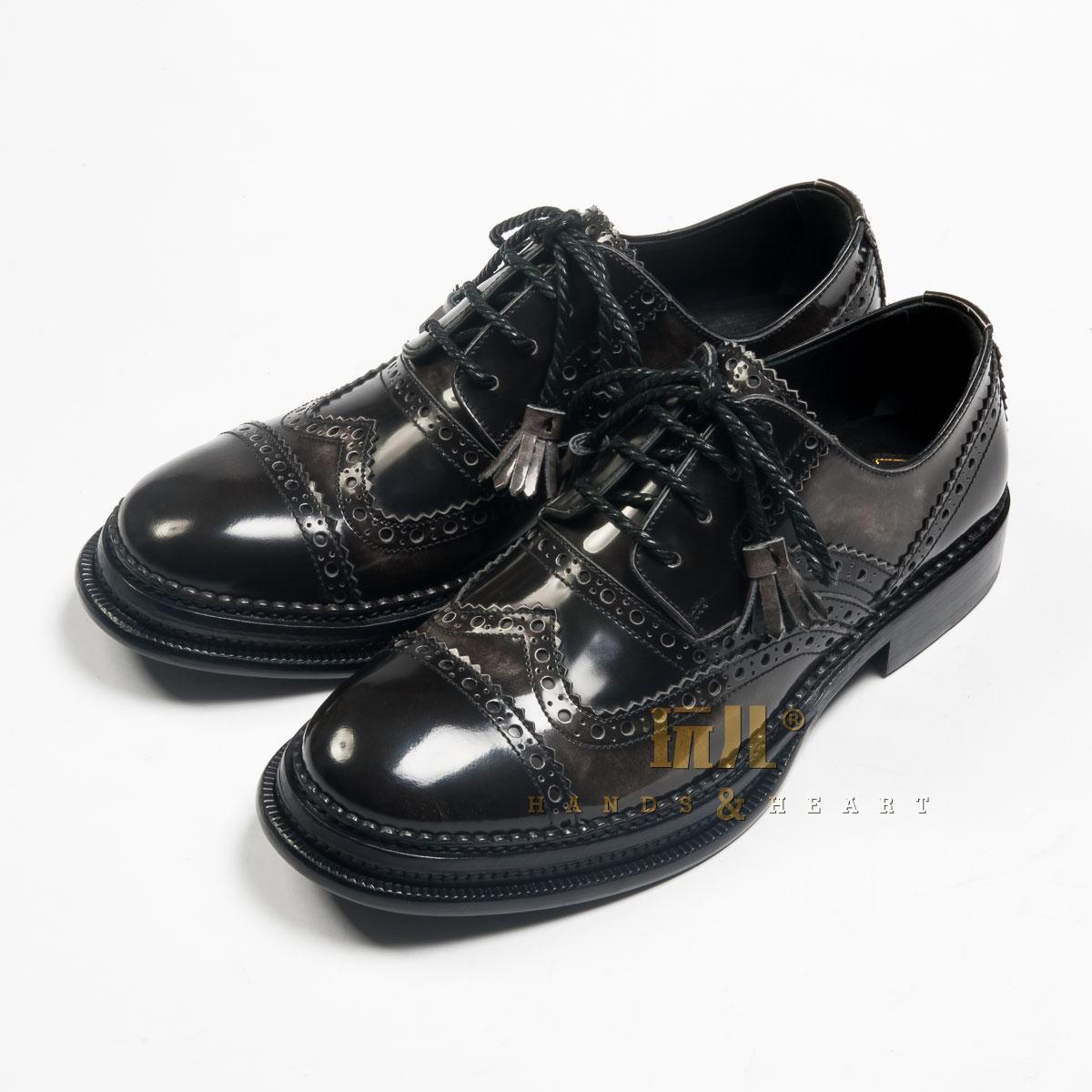 玩儿!高端手工定制 英伦布洛克款式雕花系带流苏男真皮皮鞋