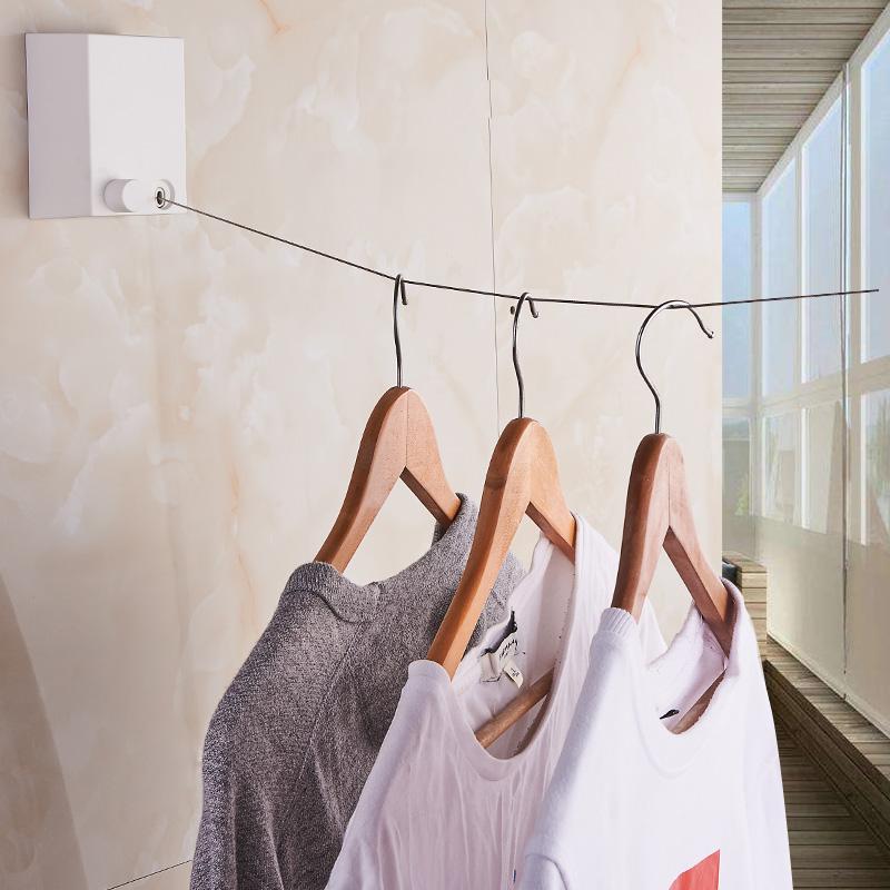 阳台隐形收缩晾衣绳神器免打孔壁挂室内伸缩钢丝绳线酒店晾衣架