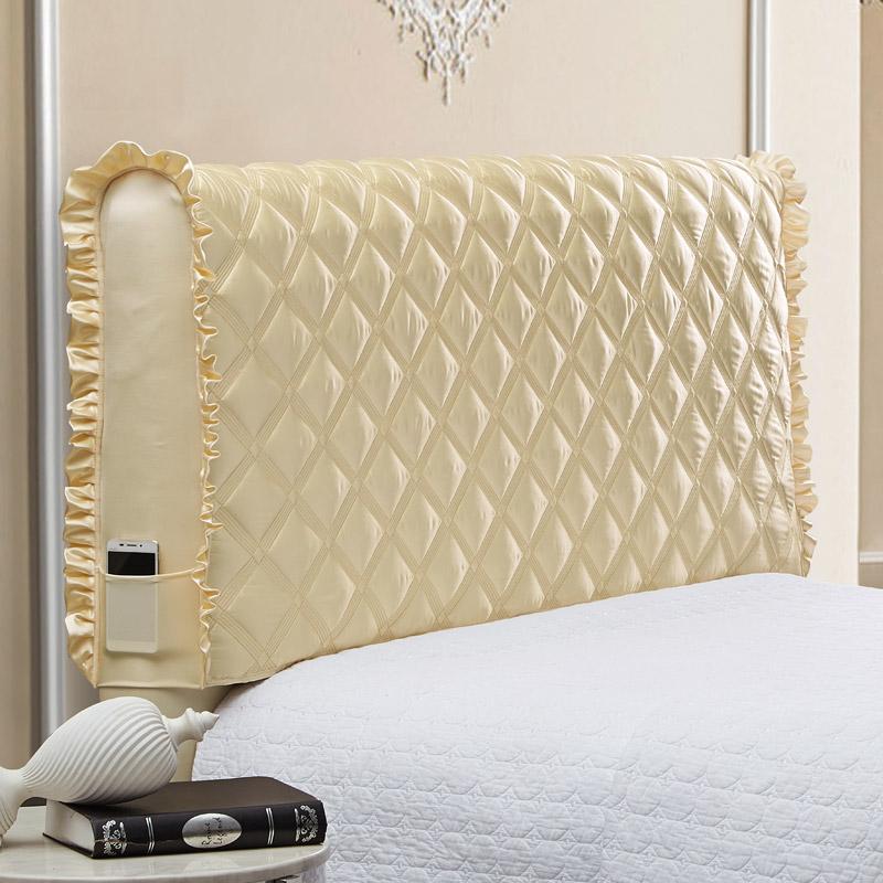 欧苏缦布艺床头罩实木床头套加厚欧式皮床1.5m防尘罩1.8床保护套