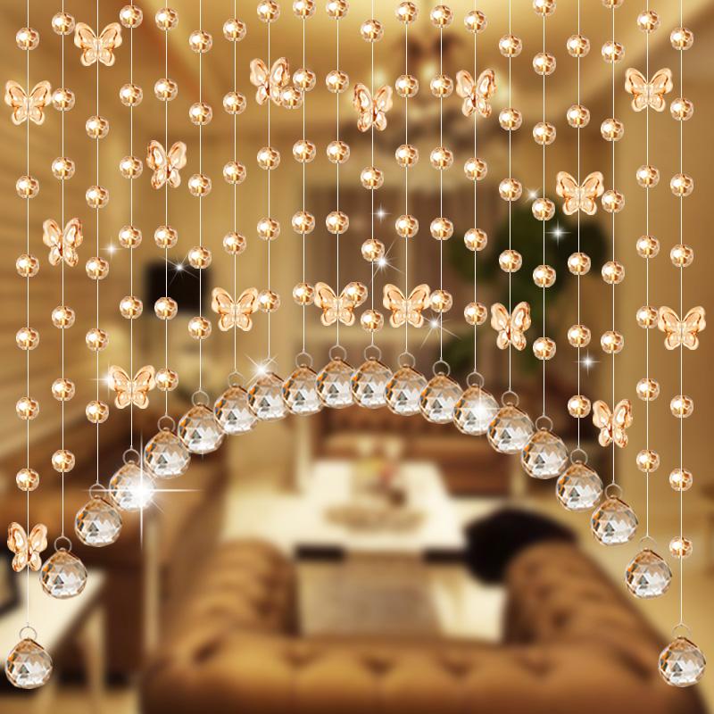 珠帘水晶门帘玄关卧室客厅隔断帘弧形过道蝴蝶门帘子装饰免打孔