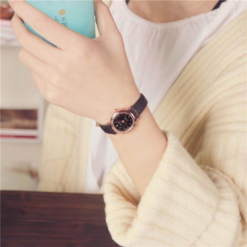 韩国订单气质时尚潮流女士经典圆形中学生百搭女生简约链韩版手表