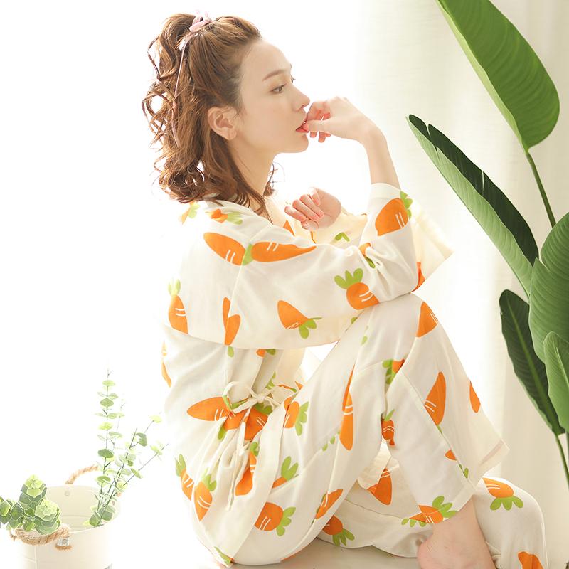 富朵 春秋长袖夏季薄款纯棉纱布月子服和服孕产妇哺乳睡衣喂奶衣