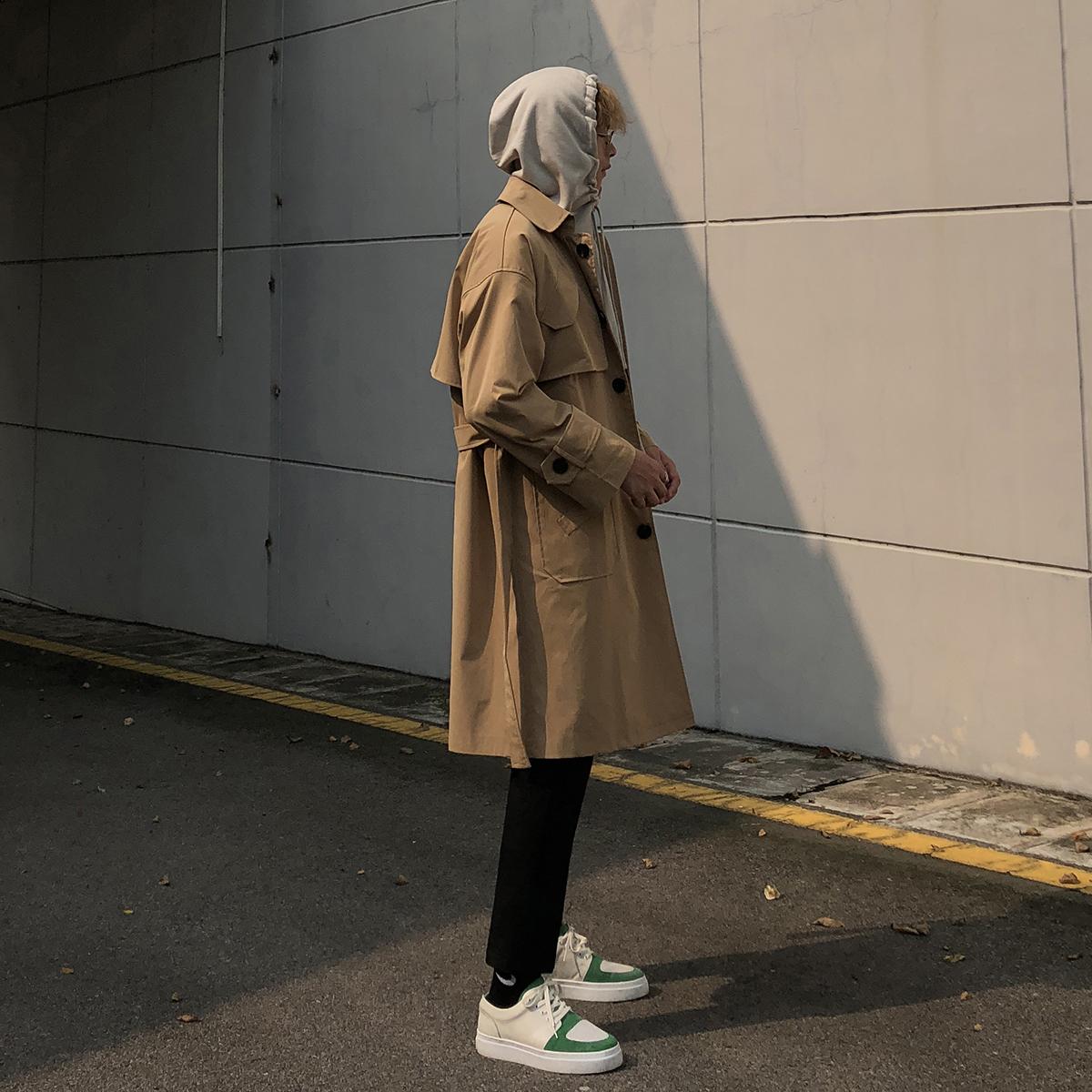 新款中长款韩版宽松高腰系带大衣帅气薄 2018 男风衣外套秋装 大赖