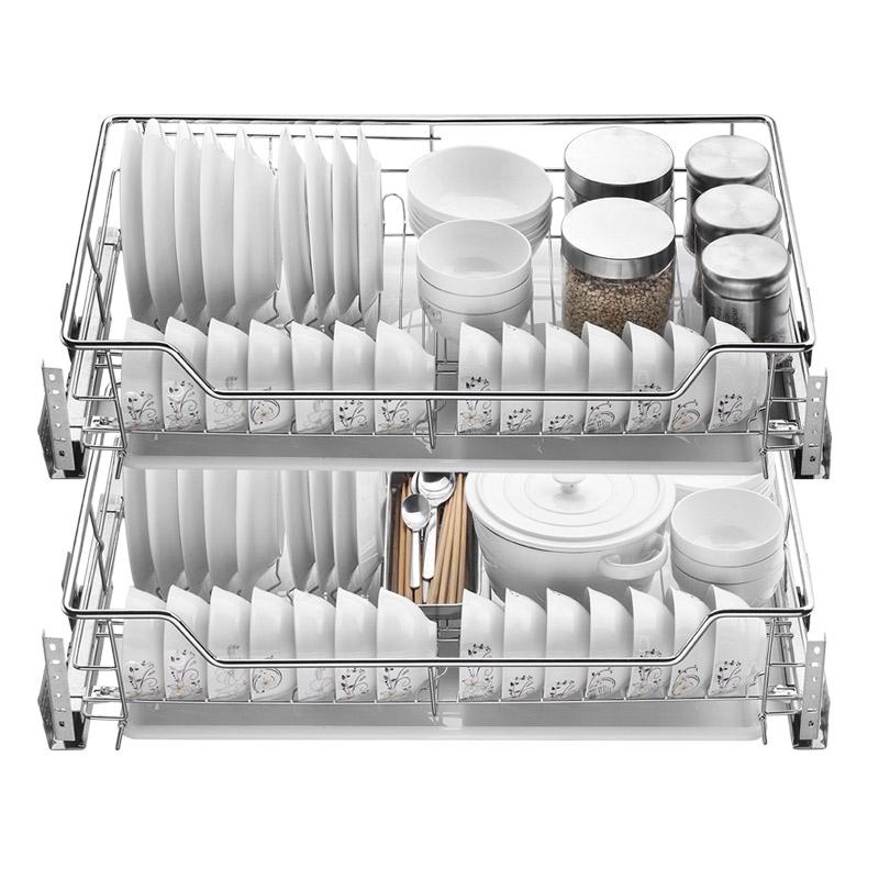 帝米尼拉篮厨房橱柜304不锈钢双层抽屉式内置碗架厨柜调味篮碗篮