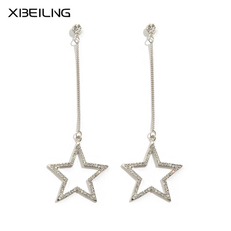韩国欧美风金色镶钻长款链条五角星镂空甜美气质耳环女流行耳饰品