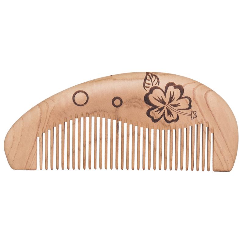 周广胜绿檀木梳子天然檀木梳细粗齿梳桃木梳美卷发梳按摩梳定制