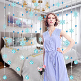 Door curtain crystal curtain bead curtain sanitary partition broken curtain living room finished kitchen arc hanging curtain free punch snowflake
