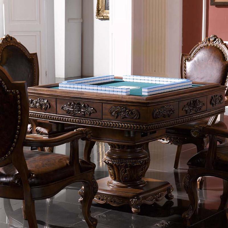 信益轩家具 实木欧式麻将桌棋牌桌电动麻雀台 美式休闲桌麻将机