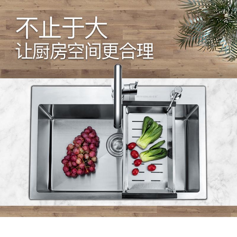 不銹鋼手工拉絲加厚單槽水槽套餐大單槽洗菜盆洗碗池 304 肯勒廚房