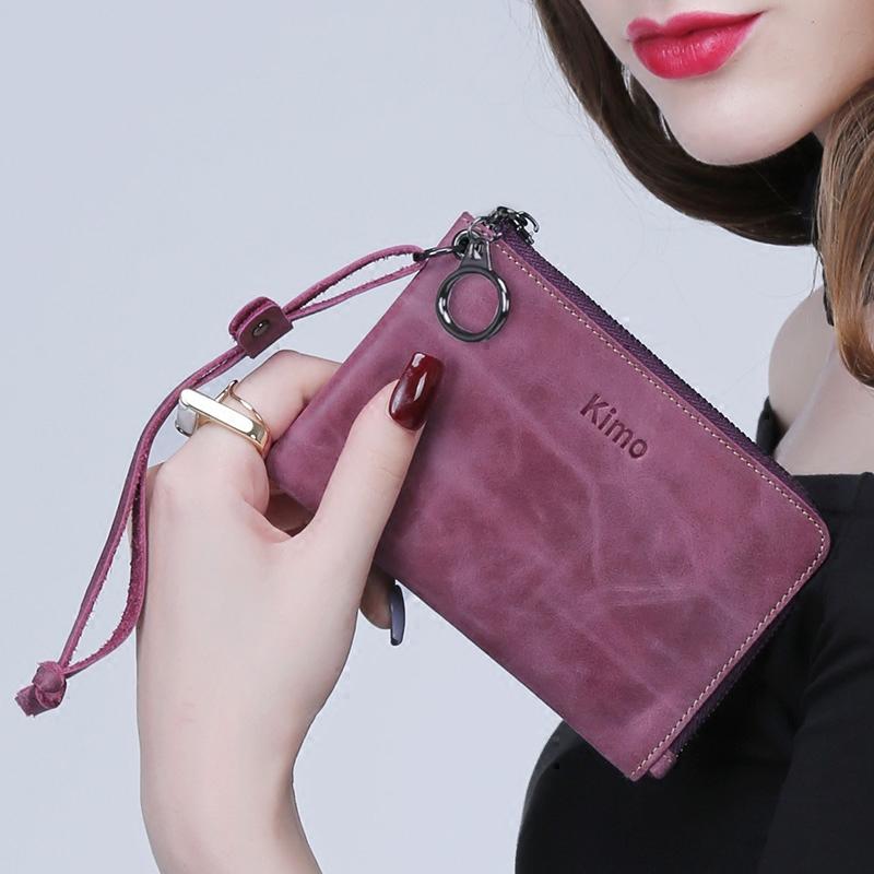 KIMO 歐美女士真皮短款拉鍊學生牛皮小錢包零錢包手拿包鑰匙包